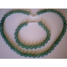 8MM NATURAL AVENTURINE & 925 STERLING SILVER SET