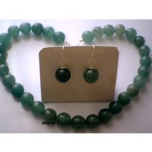 GENUINE 12MM AVENTURINE / 925 STERLING SILVER SET