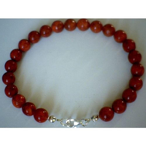 NATURAL 8MM RED CORAL & 925 STERLING SILVER BRACELET