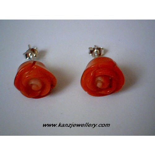 ORANGE ROSE CORAL & 925 STERLING SILVER EARRING STUD 10MM