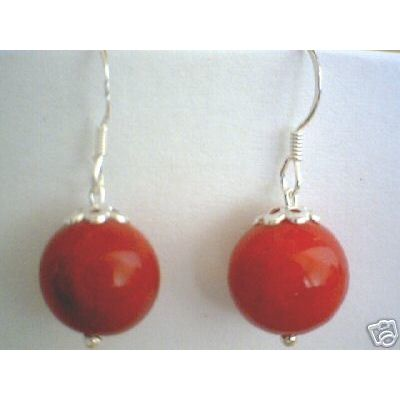 SUPERB NATURAL RED CORAL EARRING & 925 STERLING SILVER