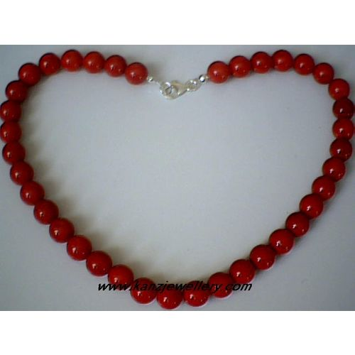 GENUINE 10MM RED CORAL / 925 STERLING SILVER NECKLACE