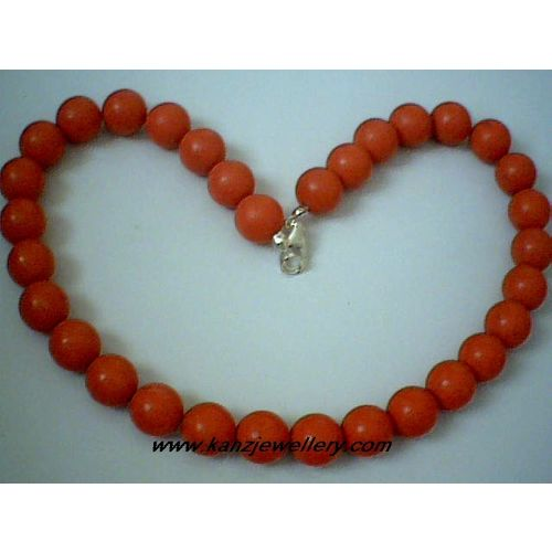 GENUINE 12MM RED CORAL / 925 STERLING SILVER NECKLACE