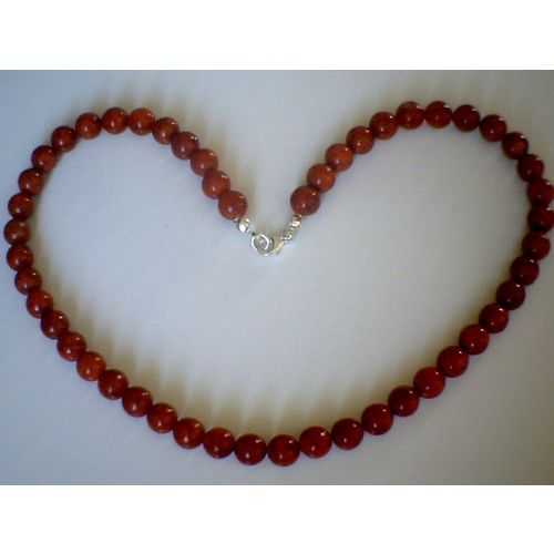 GENUINE 8MM RED CORAL & 925 STERLING SILVER NECKLACE