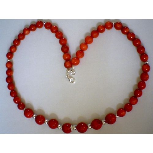 GENUINE CORAL & 925 STERLING SILVER NECKLACE