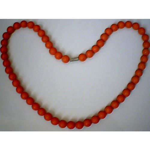 SUPERB QUALITY & DELIGHTFUL 8MM RED CORAL NECKLACE
