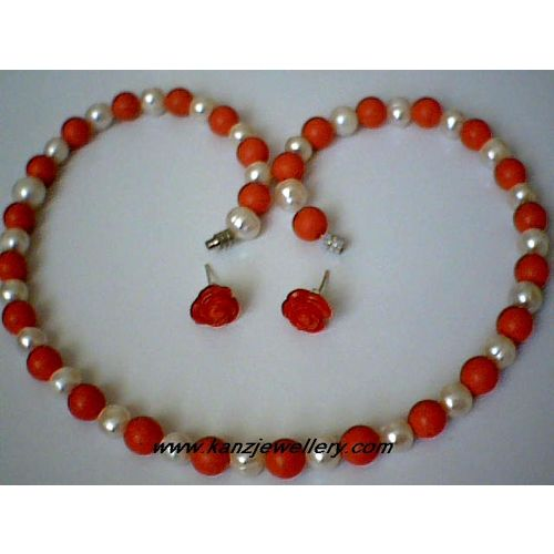 8MM CORAL & FW PEARL SET NECKLACE / FLOWER STUD WITH 925 STERLIN