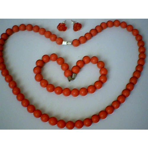 GENUINE RED CORAL SET NECKLACE/ BRACELET/ EARRING
