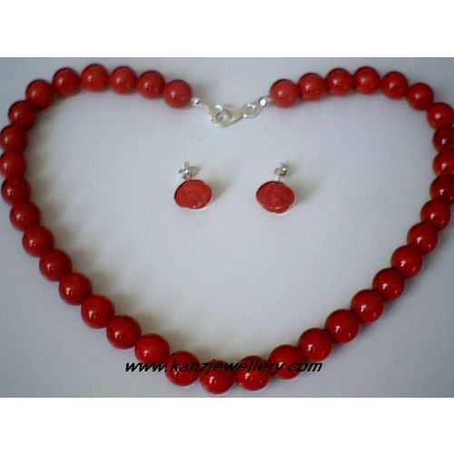 NATURAL RED CORAL & 925 SILVER SET NECKLACE & EARRINGS