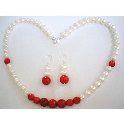 SUPERB NATURAL FW PEARL & CORAL & 925 STERLING SILVER SET