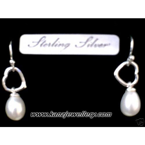SUPERB FW PEARL EARRING DROP WITH 925 STERLING SILVER