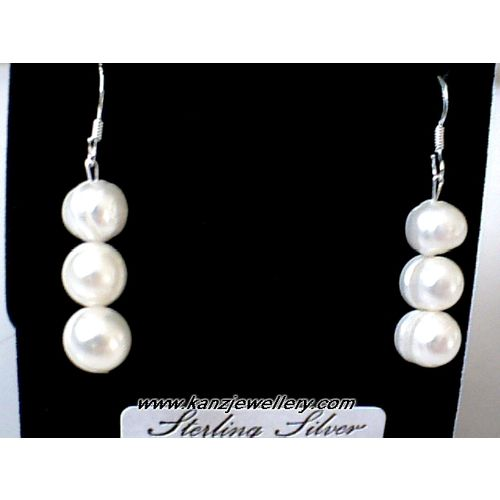 SUPERB NATURAL FW PEARL EARRINGS & 925 STERLING SILVER