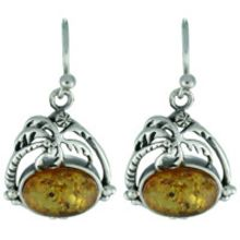 SUPERB AMBER EARRING WITH SOLID 925 STERLING SILVER 6G