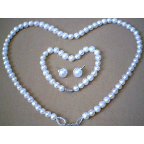 FW PEARL SET NECKLACE/BRACELET/EARRING STUD WITH 925 SS