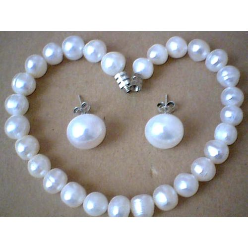 SUPERB FW PEARL SET BRACELET / EARRING STUD WITH 925 SS