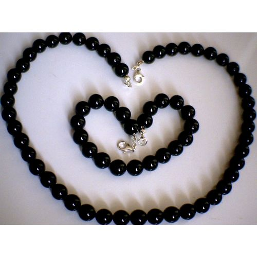 DELIGHTFUL & REAL BLACK ONYX SET & 925 STERLING SILVER