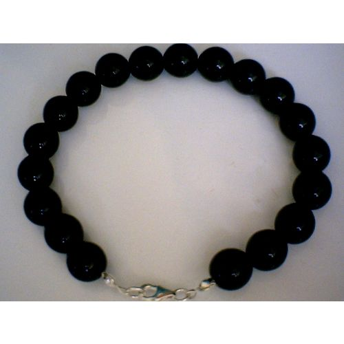 NATURAL BLACK ONYX GRADE A & 925 STERLING SILVER BRACELET