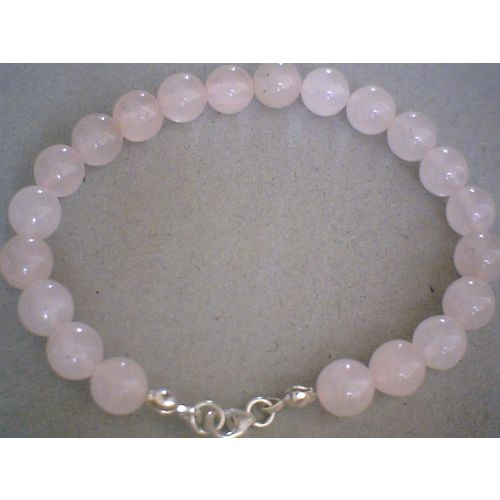 NATURAL 8MM ROSE QUARTZ & 925 STERLING SILVER BRACELET