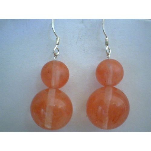 NATURAL CHERRY QUARTZ & 925 STERLING SILVER EARRINGS