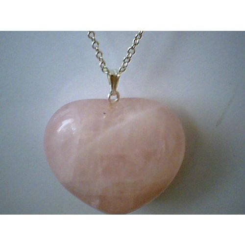 29G ROSE QUARTZ PENDANT & 925 STERLING SILVER CHAIN