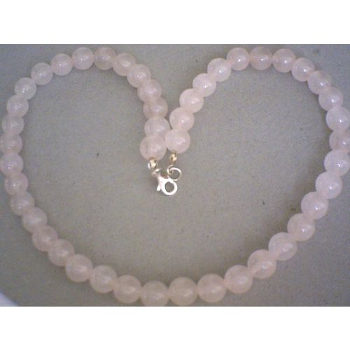 8MM NATURAL ROSE QUARTZ & 925 STERLING SILVER NECKLACE