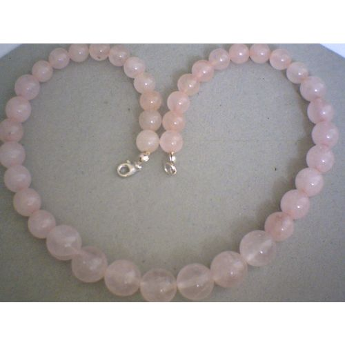 SUMPTUOUS ROSE QUARTZ & 925 STERLING SILVER NECKLACE