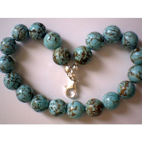 NATURAL 8MM TURQUOISE & 925 STERLING SILVER BRACELET