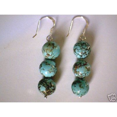 SUPERB NATURAL TURQUOISE & 925 STERLING SILVER EARRINGS