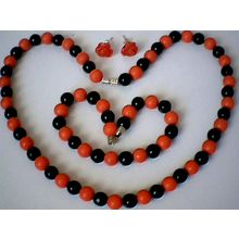 BLACK AGATE & RED CORAL SET NECKLACE/BRACELET/ EARRING