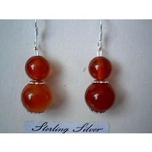 SPLSPLENDID REAL RED AGATE EARRING & 925 STERLING SILVER