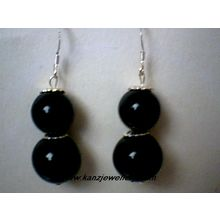 SPLENDID REAL BLACK AGATE EARRING & 925 STERLING SILVER