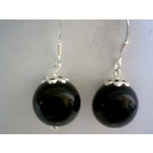 NATURAL BLACK AGATE & 925 STERLING SILVER EARRINGS
