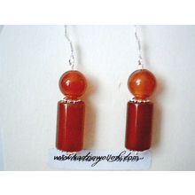 DELIGHTFUL REAL RED AGATE EARRING & 925 STERLING SILVER