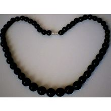 SUMPTUOUS & EXCELLENT QUALITY BLACK AGATE NECKLACE