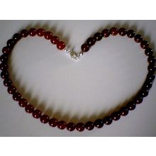 GRADE A RED AGATE BEADS & 925 STERLING SILVER NECKLACE