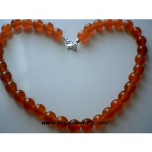 GENUINE 10MM RED AGATE / 925 STERLING SILVER NECKLACE