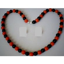 EXCELLENT QUALITY 8MM BLACK AGATE & RED CORAL NECKLACE