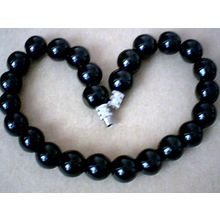 EXCELLENT QUALITY & GENUINE 12MM BLACK AGATE BRACELET