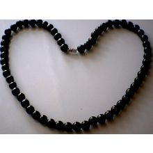 BEAUTIFUL & EXCELLENT QUALITY 8MM BLACK AGATE NECKLACE