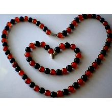 SPLENDID & GENUINE 8MM RED &BLACK AGATE SET [154754259]