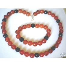 GENUINE RED & BLACK AGATE / 925 STERLING SILVER SET