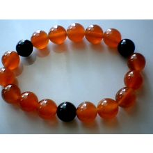 EXCELLENT QUALITY REAL 10MM RED & BLACK AGATE BRACELET