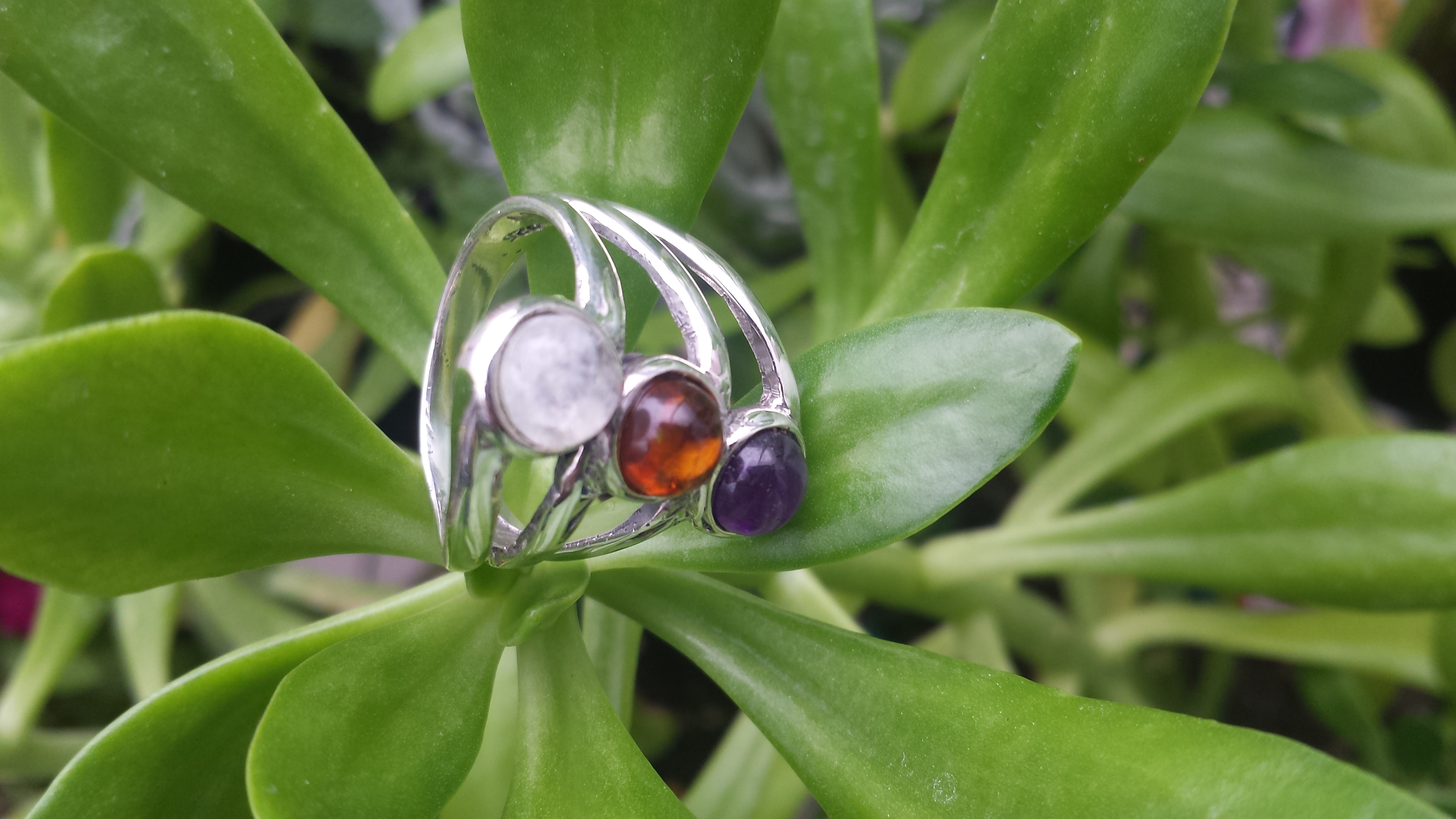 SUPERB AMBER & AMETHYST RING WITH 925 STERLING SILVER 6G