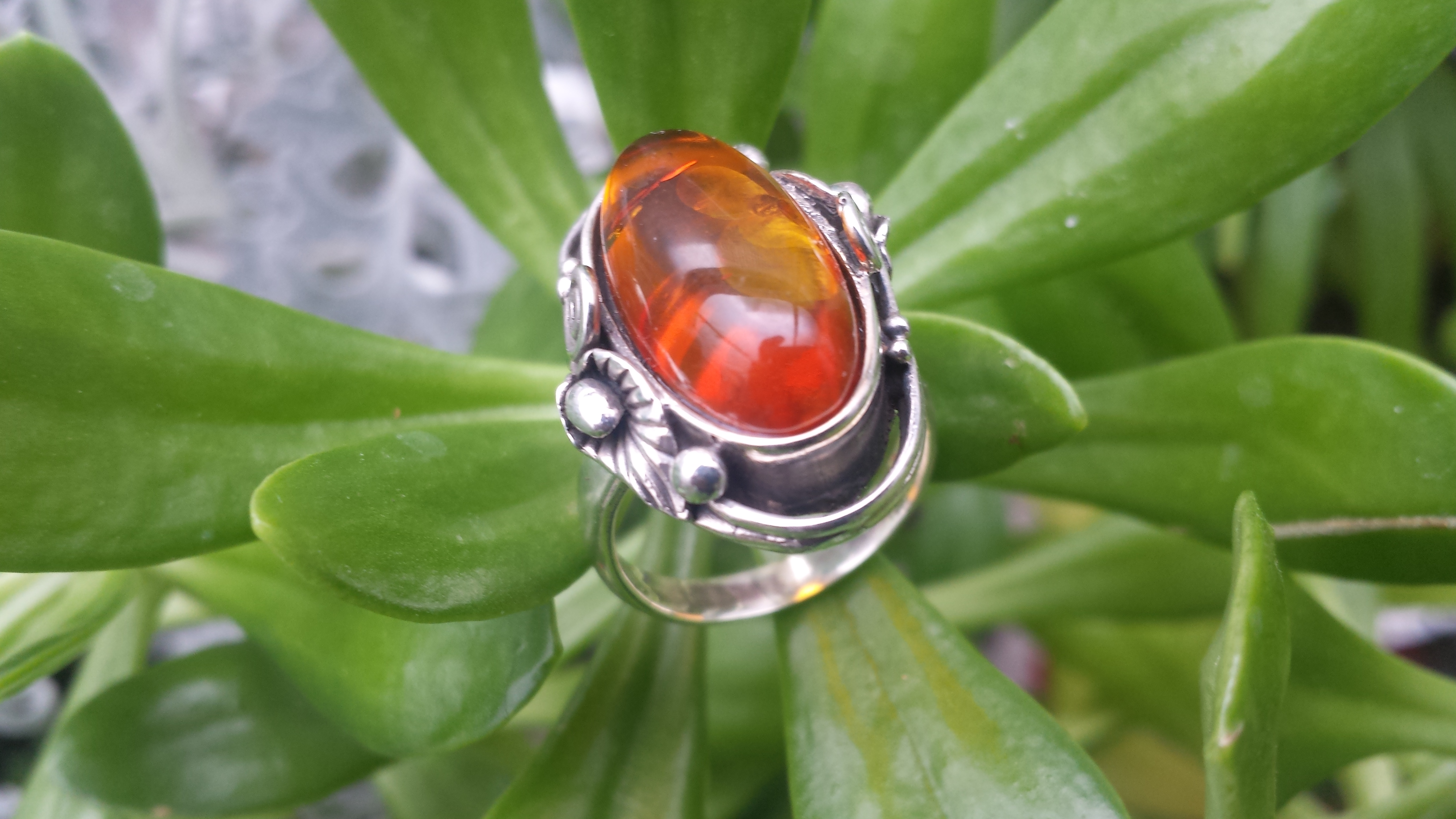 BEAUTIFUL  OVAL AMBER RING WITH SOLID 925 STERLING SILVER Size7