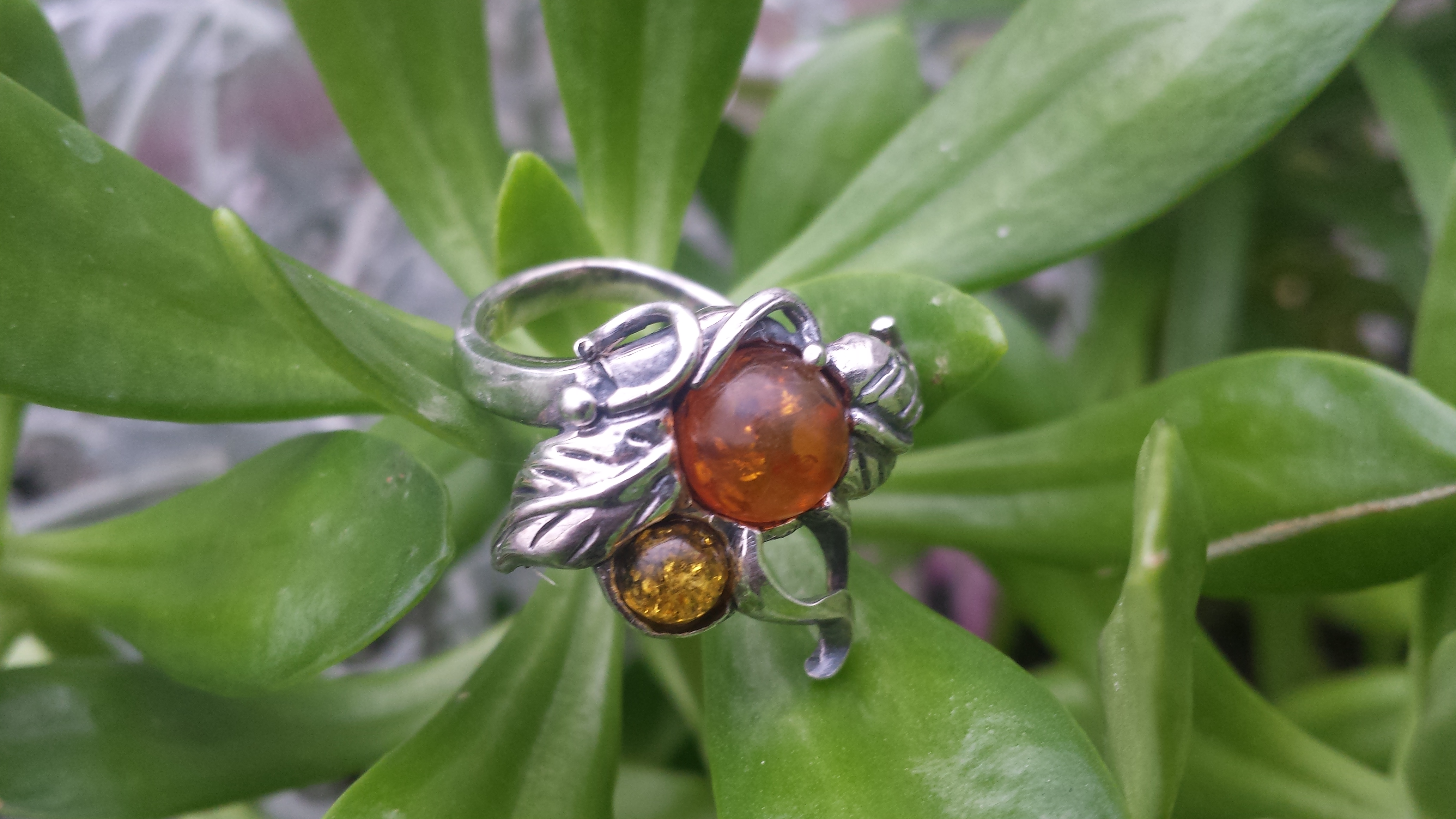 GENUINE AMBER RING WITH SOLID 925 STERLING SILVER Size6 6.5G