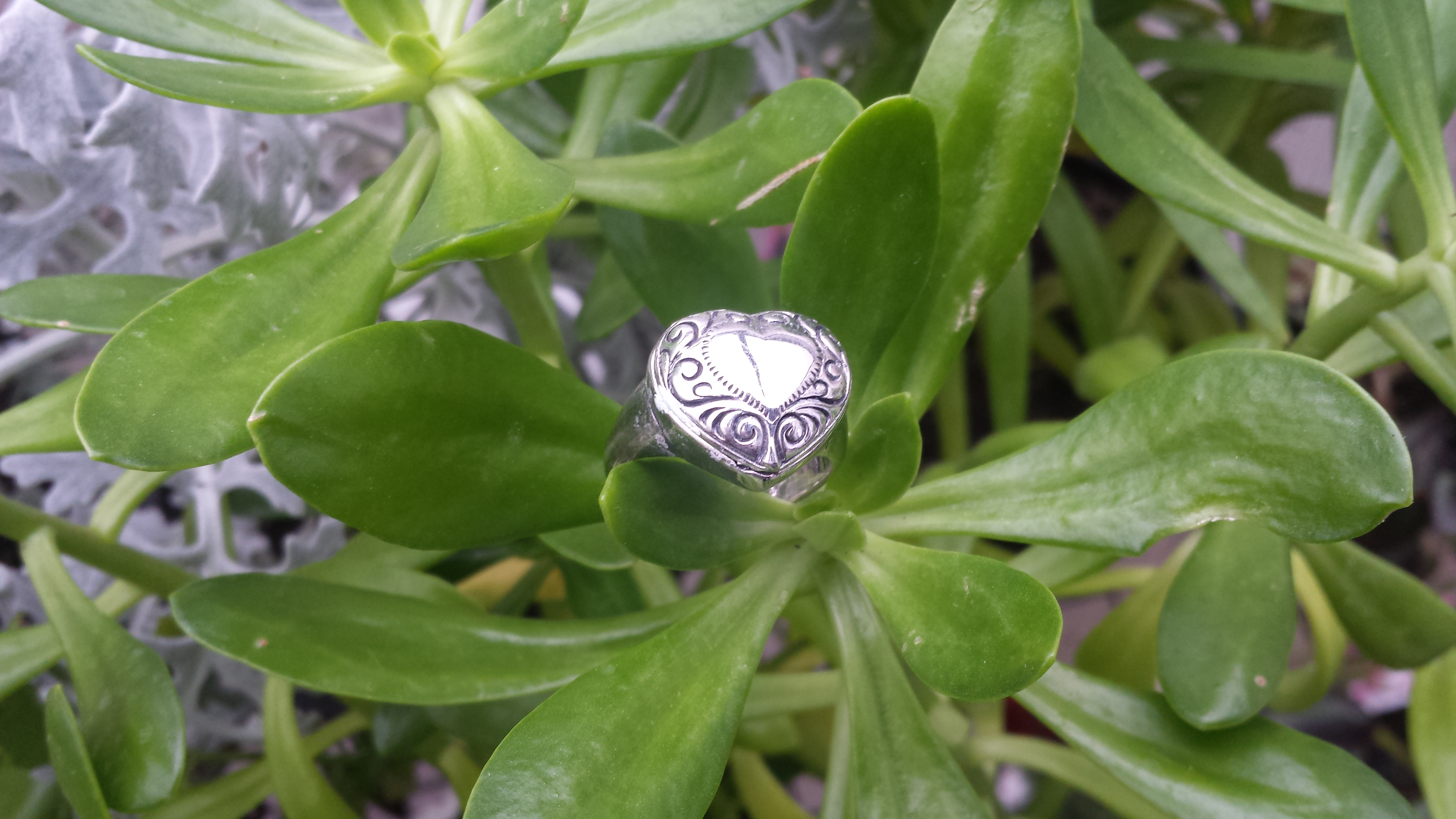 GORGEOUS HEART BOX RING 925 STERLING SILVER 10 G