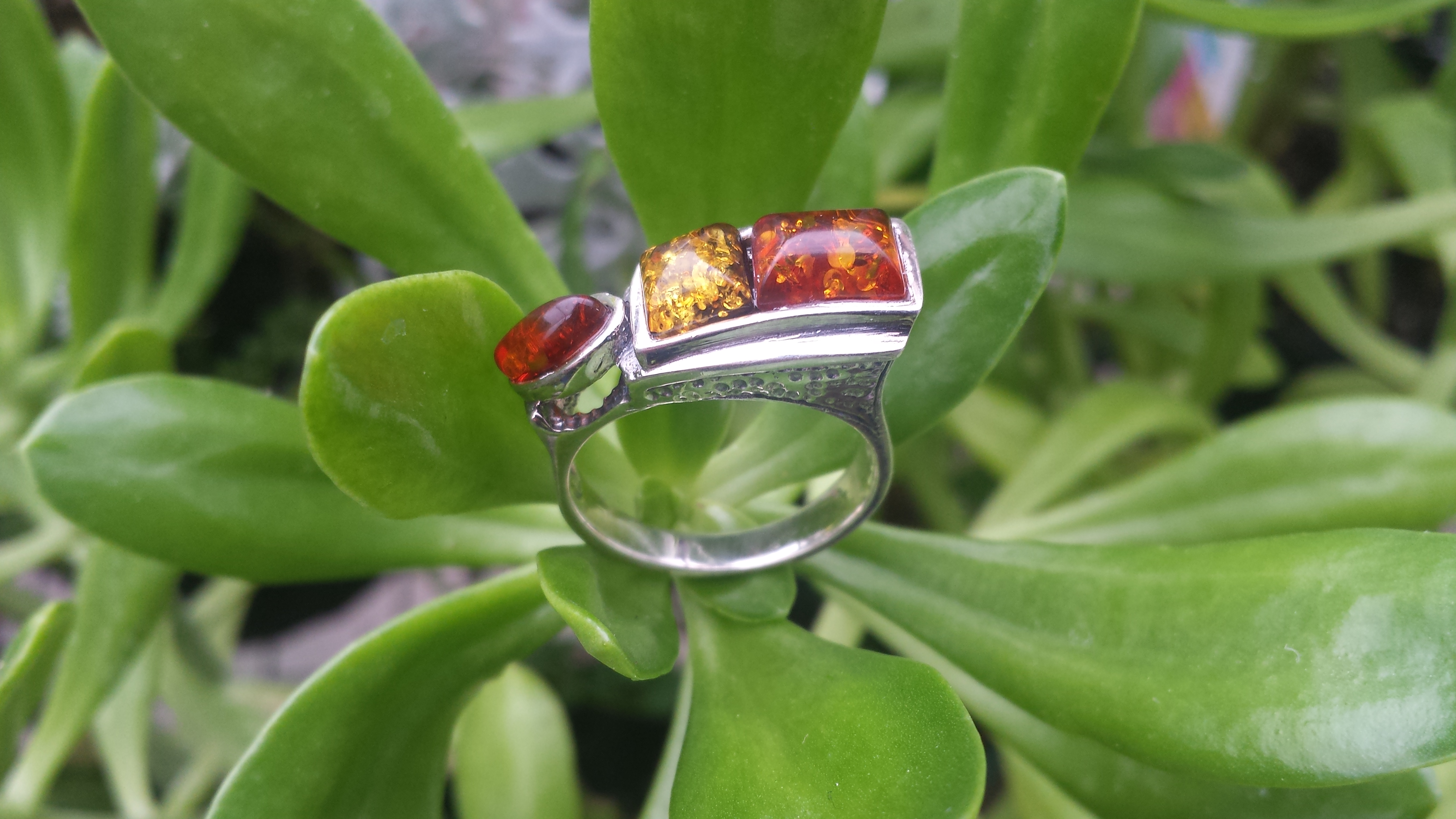 REAL BALTIC AMBER RING WITH 925 STERLING SILVER. 7G