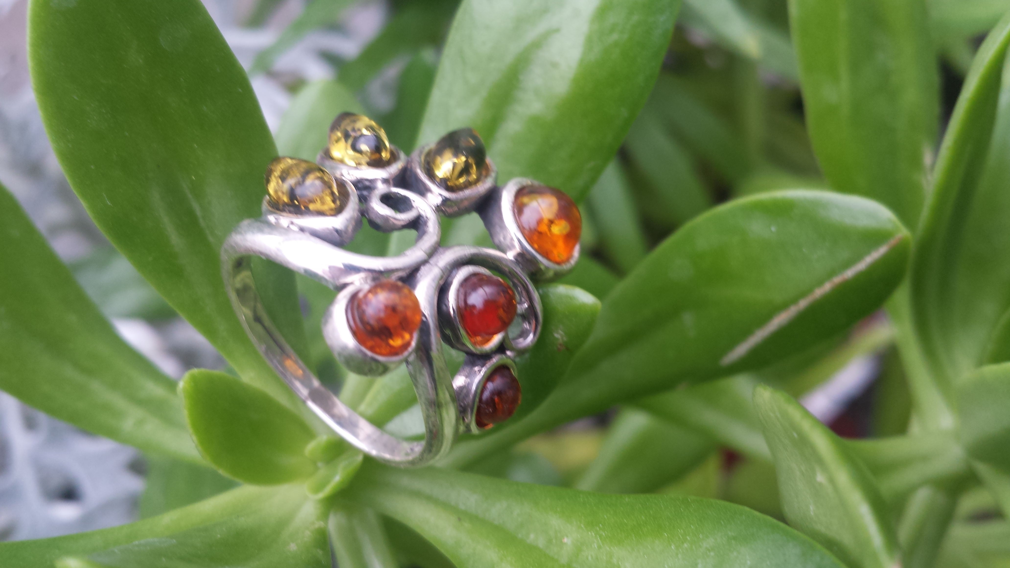 SPLENDID AMBER RING WITH SOLID 925 STERLING SILVER Size7 7G